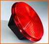 A single red traffic light lantern