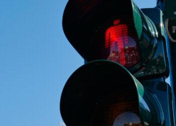 Red pedestrian traffic signal
